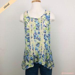 [Lily White] Green/Blue Floral Print Blouse